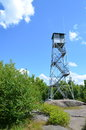 Fire tower and sky top of mt arab piercefield ny Stock Photo