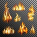 Fire transparent set realistic burning for decoration vector illustration Royalty Free Stock Photography