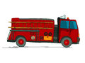 Fire truck cartoon sketch over white background Royalty Free Stock Images