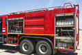 Fire truck equipment used in firefighting installed on a modern Stock Photography