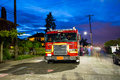 Fire truck on exhibit at independence day block party displayed Stock Photography