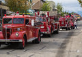 Fire truck parade in salmon arm fall fair to celebrate years of the local department Stock Image