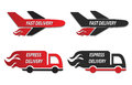 Fire truck and plain delivery icons illustration Stock Photo