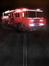 Fire truck on scene with lights room for text or copy space part of a first responder series Royalty Free Stock Photos