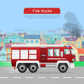 Fire Trucks Vector Flat Web Banner Royalty Free Stock Photo