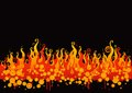 Fire vector illustration with yellow orange flames on black background Stock Images