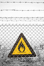 Fire warning sign Stock Images