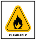 Fire warning sign in yellow triangle. High Flammable Materials Royalty Free Stock Photo