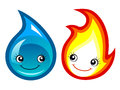 Fire and water stylized with cute cartoon faces Royalty Free Stock Image
