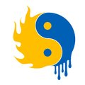 Fire and water ying yang symbol illustration Royalty Free Stock Photos