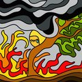 Fire in the wood abstract design with Royalty Free Stock Photography