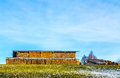 Fire wood shed on a hill Royalty Free Stock Image