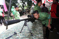 Firearms exhibition school students are being viewed exhibits of army in the city of solo central java indonesia Royalty Free Stock Photos