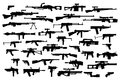 Firearms. Vector big set of different modern fire weapons. Black silhouettes on white isolated background. Side view Royalty Free Stock Photo
