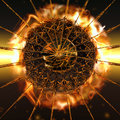 Fireball a big explodes from the center Royalty Free Stock Image