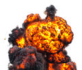 Fireball mushroom cloud inferno explosion isolated on white Stock Photo