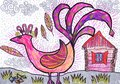 Firebird and lodge. Children`s drawing