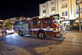 Firebrigade in action miami usa august south miami at night racing through the street with alarm horn to a fire fighting operation Royalty Free Stock Photos