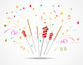 Firecracker with fireworks popping on white background Royalty Free Stock Image