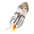Fired cartoon businessman tied to rocket vector illustration of a being and a Royalty Free Stock Image