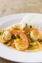 The fired curry shrimp thai food Stock Photography