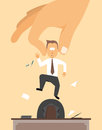 Fired layoff or hand removing employee from desk cartoon illustration of a Stock Photography