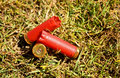 Fired shells empty red shot gun  bullet cartridges Royalty Free Stock Photo