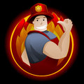 Firefighter cheerful and brave on a black background Stock Photography