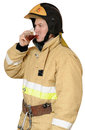 Firefighter drinking black tea Stock Photos
