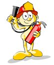 Firefighter with a fire extinguisher in his hands conceptual illustration aid and security to danger Stock Photos