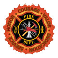 """Firefighter honor courage valor fire department or maltese cross symbol design with flame border encircled by """"honor dedication Stock Images"""