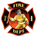 Firefighter Inside Maltese Cross Symbol Royalty Free Stock Photography