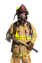 Firefighter mask  airpack protective suit Stock Images