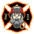 Firefighter with Mask on Cross Royalty Free Stock Photography