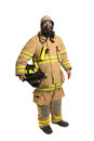 Firefighter with mask and fully protective suit Royalty Free Stock Photo