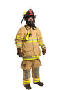 Firefighter with mask and fully protective suit Stock Images
