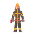 Firefighter in safety helmet and protective suit standing with axe cartoon character vector IllustrationИнтернета