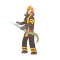 Firefighter in safety helmet and protective suit standing with water hose cartoon character vector Illustration