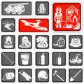 Firefighter squared icons collection of different Royalty Free Stock Photography