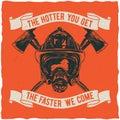 Firefighter t-shirt label design.