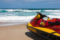 Firefighter watercraft brazilian aquatic motorbike on the beach for rescuing people Royalty Free Stock Images