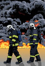 Firefighters and a Big Fire Royalty Free Stock Photo