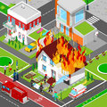 Firefighters Extinguish a Fire in House Isometric City. Fireman Helps Injured Woman Royalty Free Stock Photo