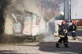 Firefighters fighting a fire of a waste place gdansk poland august august in gdansk Stock Photos