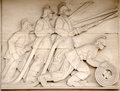 Firefighters frieze london art deco bas relief sculpture showing fire fighters directing hoses at a blaze on public display since Royalty Free Stock Images