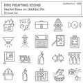 Firefighting and Fire Protection System Safety Icon Set, Firefighter Equipment Tools for Building Fire Prevention Systems.