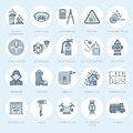 Firefighting, fire safety equipment flat line icons. Firefighter, fire engine extinguisher, smoke detector, house