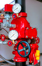 Firefighting fire sprinkler control valve assembly automatic safety for water supply distribution and flow pressure system with Royalty Free Stock Image