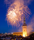 Firefoworks in Tallinn Stock Images