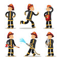 Fireman Cartoon Character Set. Firefighter with Hose